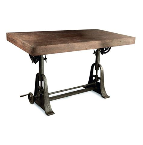 Kossi Industrial Rustic Wood Cast Iron Drafting Table Desk