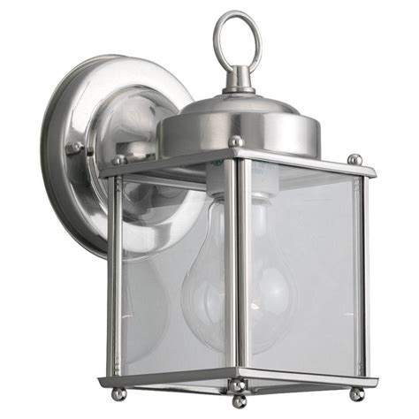 brushed nickel 1 light outdoor wall light fixture sea gull lighting new castle 1 light antique brushed