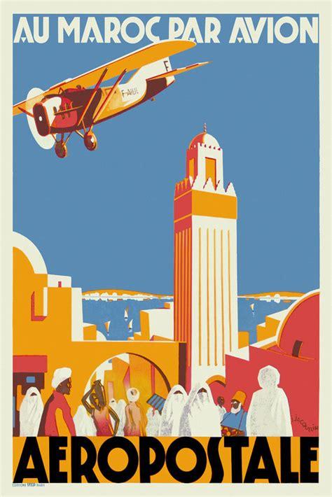Art Deco Boat Poster by Vintage Art Deco Travel Poster Casablanca Morocco 1930s