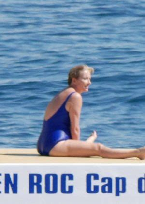 emma thompson swimsuit emma thompson in blue swimsuit at eden roc in cannes