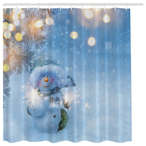 Blue Snowman in Winter Wonderland Christmas Holiday Shower