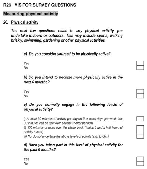 visitor survey questions   page