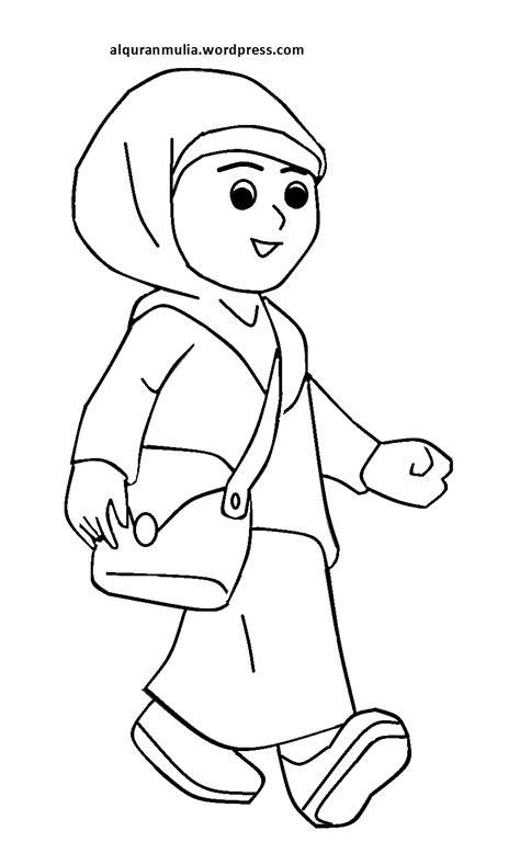 gambar kartun islami anak sekolah