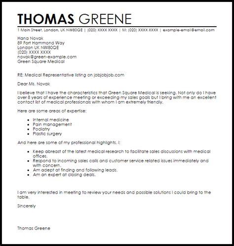 medical representative cover letter sample cover letter