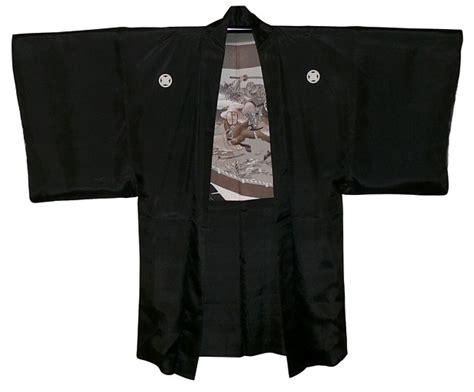 japanese mans black silk kimono jacket haori  samurai