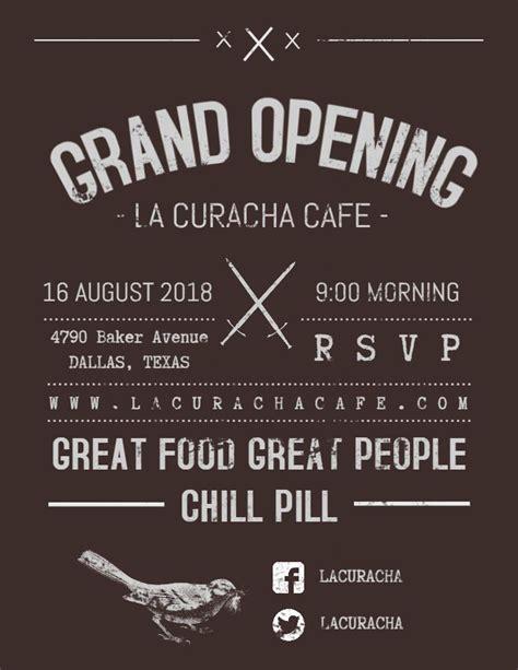 vintage restaurantcafe grand opening posterflyer