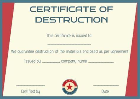 certificate  destruction template certificate