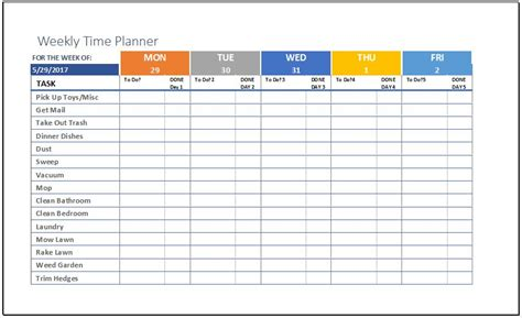 weekly time planner template  ms excel excel templates