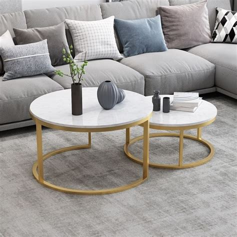Hollyhome modern round side table set of 2, contemporary accent coffee and snack end table with metal frame. Nordic Style Coffee Table Gold Metal & White Marble Living Room Accent Table with Round Top Set ...