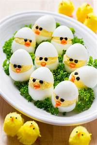 Easter Egg Recipe - Deviled Egg Chicks - NatashasKitchen com