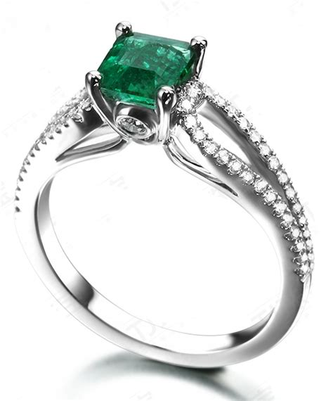 row 2 carat princess cut emerald and diamond engagement ring in white gold jeenjewels