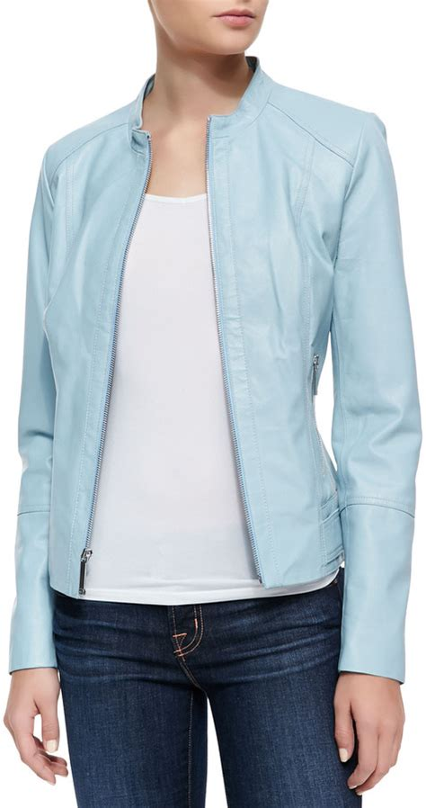 light blue leather jacket womens neiman marcus tiered sleeve jacket light blue where to