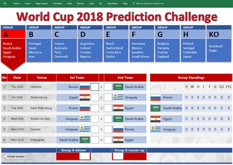 Download Game World Template by 2018 World Cup Russia Free Prediction Templates Spreadsheet1