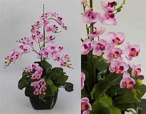 Kunstblumen Orchideen Topf : orchideen arrangement ii rosa pink im schwarzen dekotopf ~ Whattoseeinmadrid.com Haus und Dekorationen