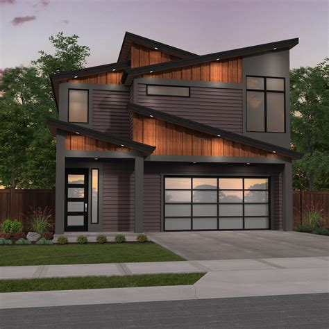 Narrow Modern Two Story House Plan Good Edge by Mark Stewart