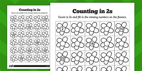 worksheet fun counting in 2s counting in 2s flowers worksheets counting 2s flowers
