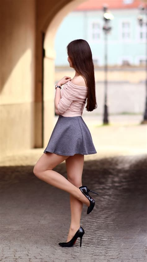 Pink top, gray mini skirt and black high heels - Fashion ...
