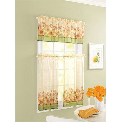 sunflower theme kitchen curtains windows Walmart   Home