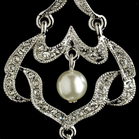 infinity rhinestone pearl chandelier earrings
