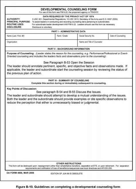 da form 4856 negative counseling exles army initial counseling exles template business