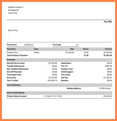 australia payslip sample  salary slip