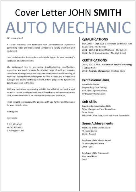 Cover Letter For A Mechanic by Auto Mechanic Cover Letter Professional Cv Zone Templates