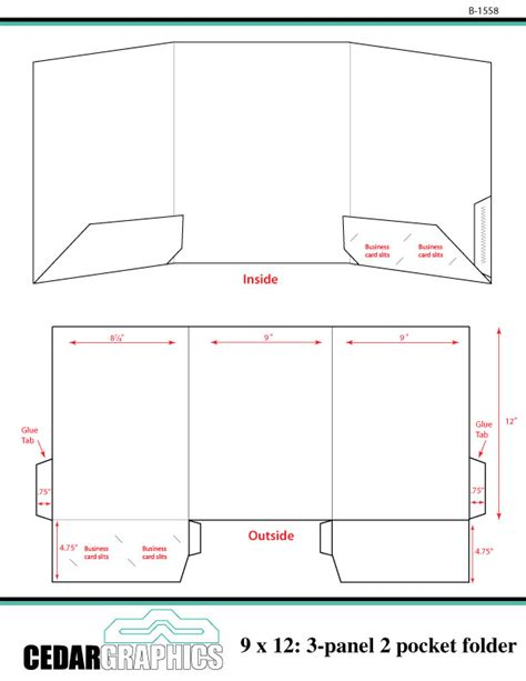 pocket folder template how to plan a 9 x 12 three panel two pocket folder