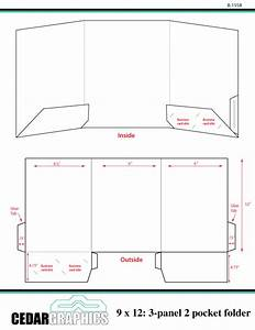 How to plan a 9 x 12 three panel two pocket folder for Pocket folder template illustrator