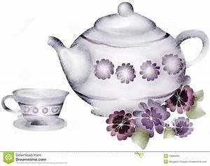 Teapot And Tea Cup Violets Flowers Clip Art Stock ...