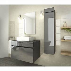 luna ensemble salle de bain simple vasque l 80 cm gris With meuble salle de bain simple vasque 80 cm