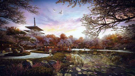 zen garden 3d 1920 visualization rendering rgb architectural making artist lo japanse