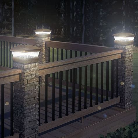 solar led powered light garden deck cap fence l post