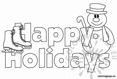 Holidays Coloring Happy Holiday Penguin Printable Winter