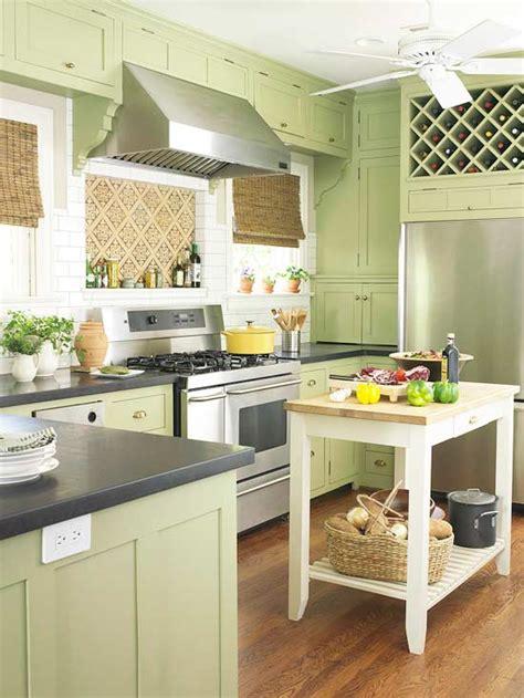 green kitchen cabinets  homes gardens