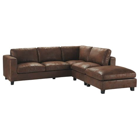 5 seater imitation suede corner sofa in brown kennedy