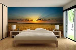 Papier Peint Trompe L4oeil : papier peint trompe l 39 oeil champs de bl izoa ~ Premium-room.com Idées de Décoration
