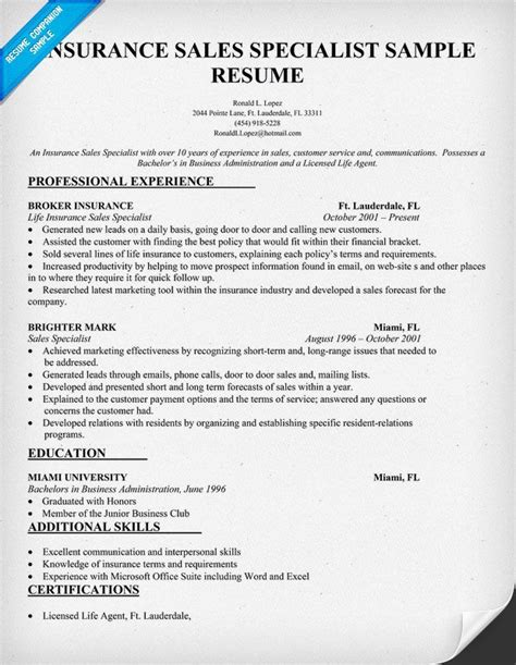 insurance sales specialist resume resumecompanion