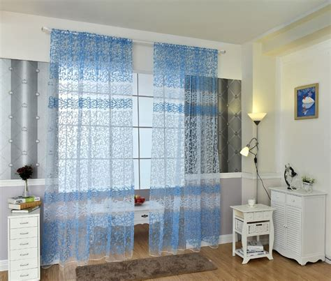 2016 curtains modern blue red white brown green tulle