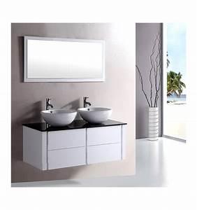 Ensemble de salle de bain alcaraz white meuble salle de for Salle de bain design avec meuble salle de bain avec double vasque