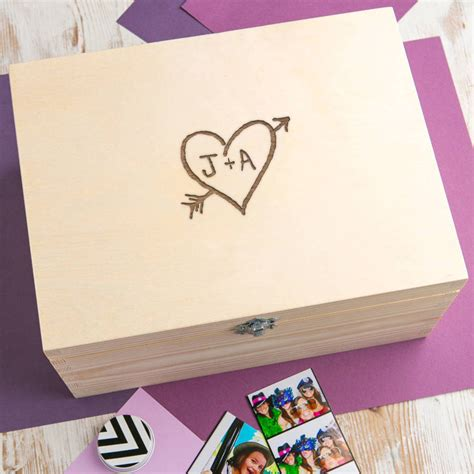 personalised wooden memory box  couples  dust