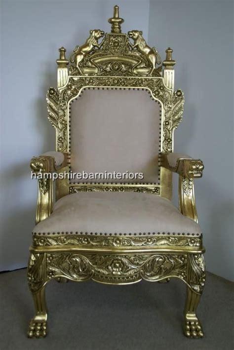 royal chairs  sale  tudor royal throne chair  gold  cream hampshire barn