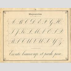 French Instruction Manual, 1900, Page 18, Medium Cursive, Complete Upper Case Alphabet With