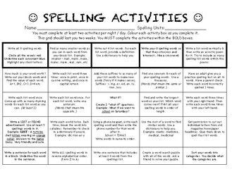 spelling activities for homework middle higher ability by darrenmoynihan teaching resources