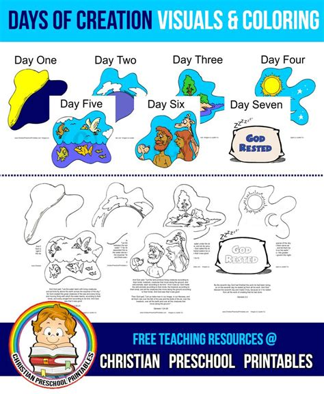 days of creation coloring book story visuals crafts 290 | fc5e8b732c2a3008be86104aa148013c christian preschool days of creation