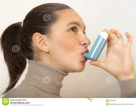Cute Girl With Asthma Inhalator Royalty Free Stock