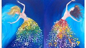 Easy painting Magical Sisters Dancing LOVE Acrylic ...