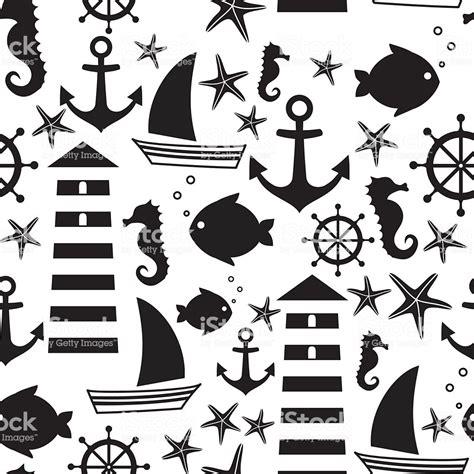 Black And White Seamless Sea Pattern Sailboat Lighthouse ...