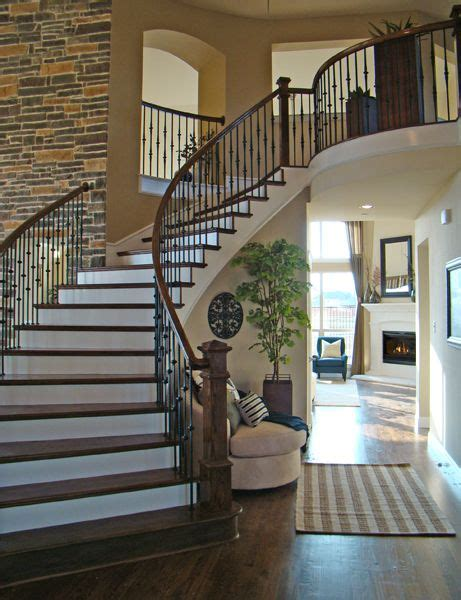love  brick wall curved stair dream home ideas
