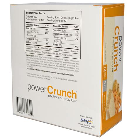 BNRG, Power Crunch Protein Energy Bar, Peanut Butter Creme