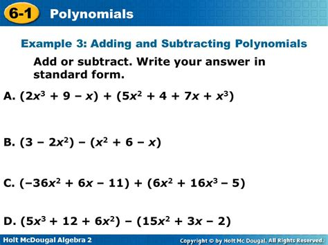 Polynomials 61 Warm Up Lesson Presentation Lesson Quiz  Ppt Video Online Download